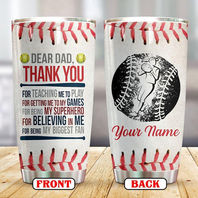 Softball Thank you for teaching me Custom Name Tumbler Cups 20 Oz Stainless Steel