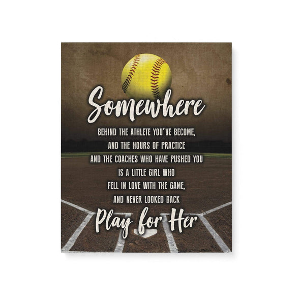Dreamship wall 16x20in Custom Softball Canvas Play For Her