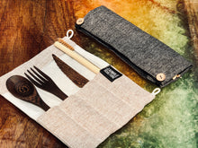 Load image into Gallery viewer, Reusable handmade dark wood cutlery set with travel utensils