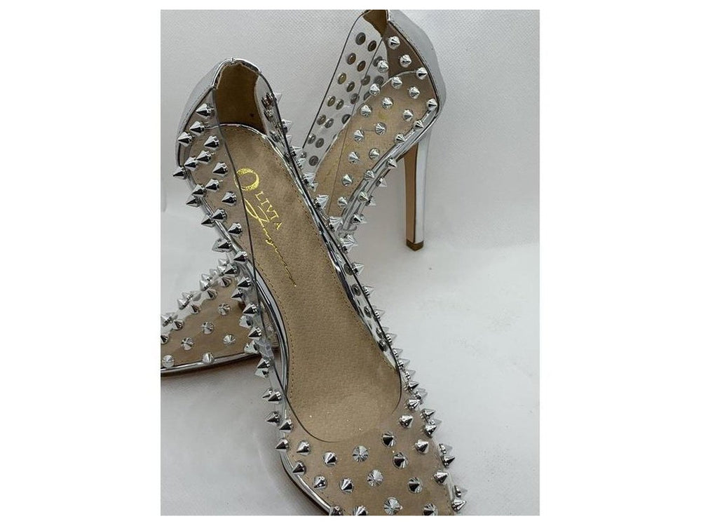 Crystal clear studded silver heel
