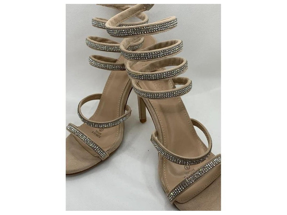 Natural colored heels with Rhinestones straps