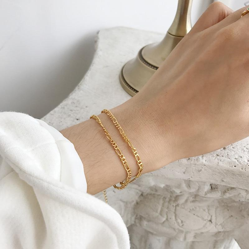 Secret Story Jewelry Bracelet 18K Gold Plated Flat Chain Sterling Silver Necklace and Bracelet