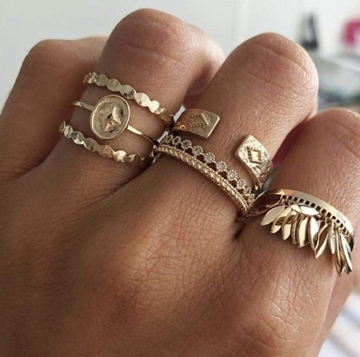 Bohemian Style Tassel Gold Rings 6 Pieces Set