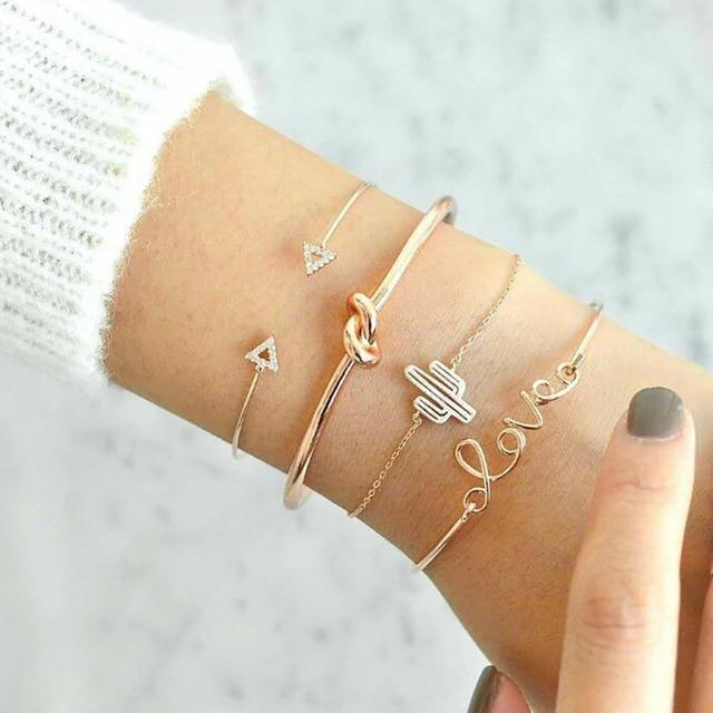 Secret Story Jewelry Bracelet Cactus Love Bangle and Bracelet 4 Pieces Set