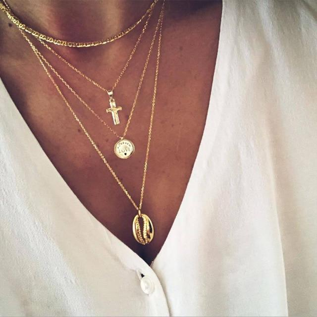 Secret Story Jewelry Necklace Cross and Shell Multi-layer Gold Necklace