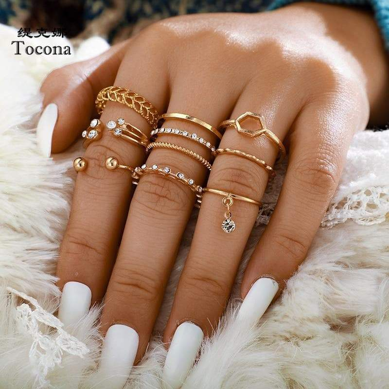 Secret Story Jewelry Rings Geometric Multi-ring Set - 8 Pieces