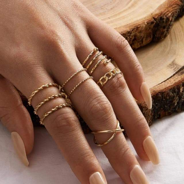 Secret Story Jewelry Rings Gold Geometric Joint Ring Set