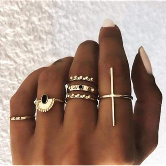 Secret Story Jewelry Rings Gold Gothic Ring 6 Pieces Set