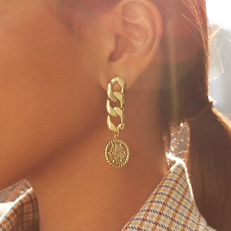 Medallion Chain Dangle Earrings
