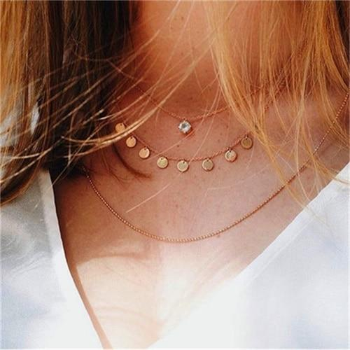 Secret Story Jewelry Necklace Multi-layer Rose Gold Necklace