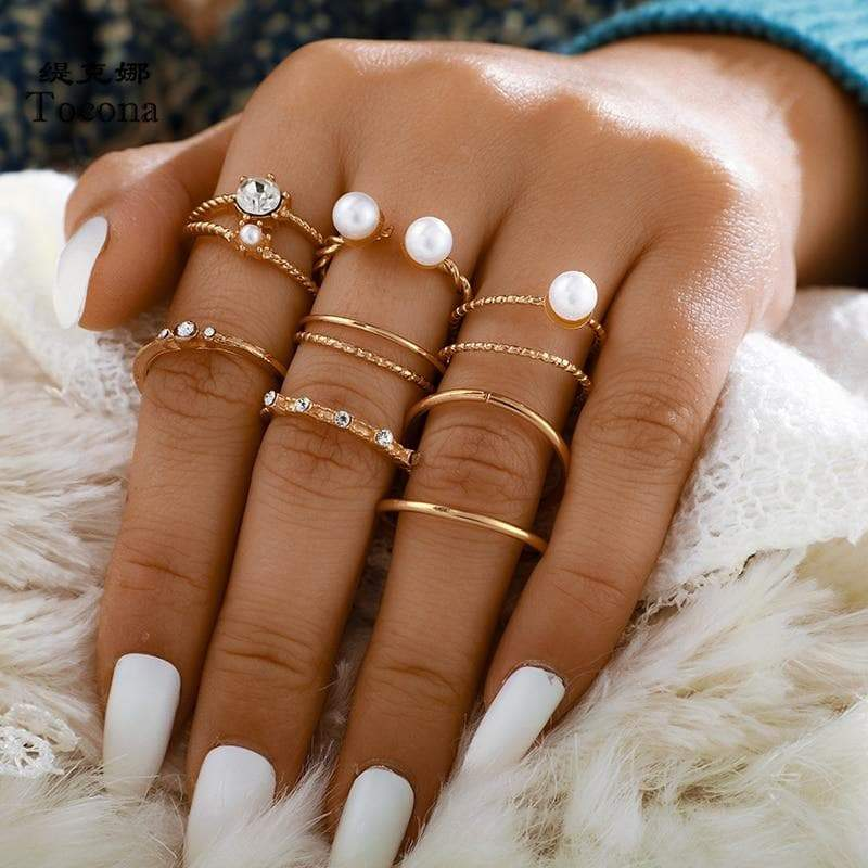 Secret Story Jewelry Rings Pearl Ring Set 8 Pieces Set