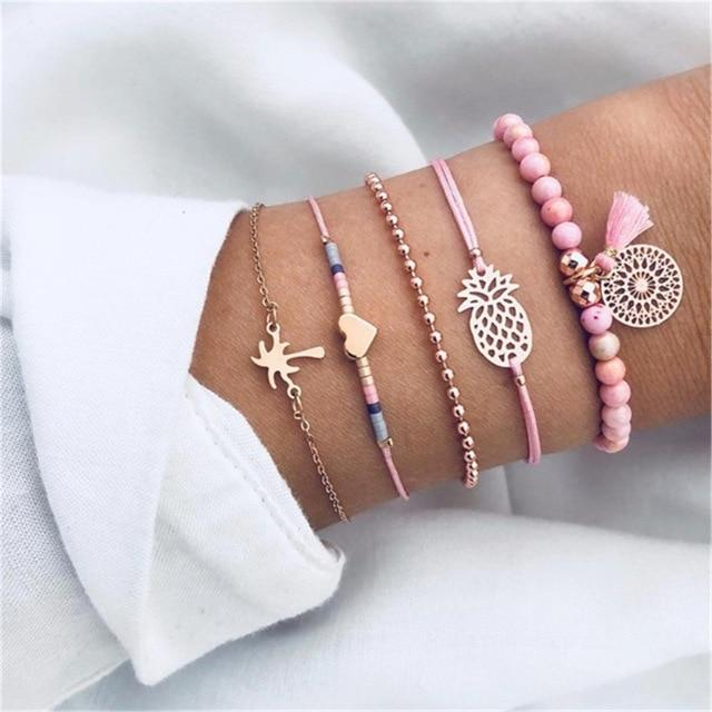 Secret Story Jewelry Bracelet Pinapple Love Multilayer Bracelet Set 5 Pieces Set