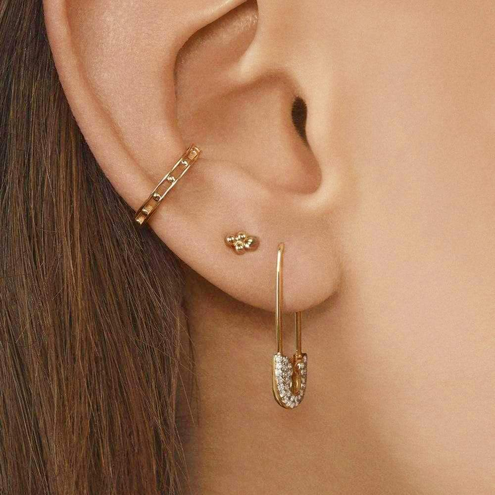 Safety Pin Earrings with Ear Cuff 4 Pieces Set
