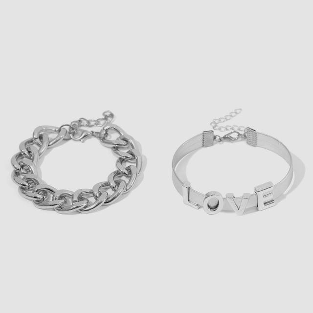 Secret Story Jewelry Bracelet Silver Love Chain Bracelets 2 Pieces Set