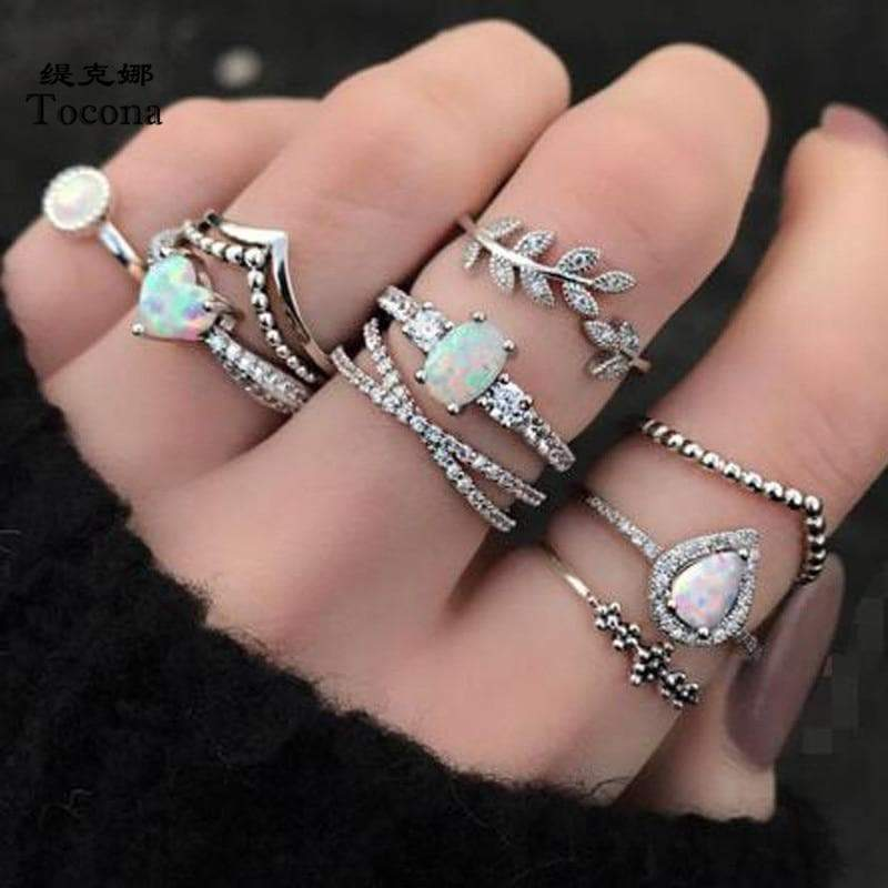 Secret Story Jewelry Rings Silver Opal Multi-Ring Set 9 Pieces Set