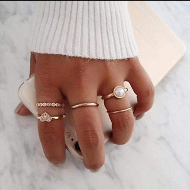 Secret Story Jewelry Rings Sweetheart Gold Ring 5 Rings Set with Pearl