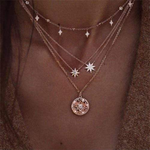 Secret Story Jewelry Necklace Twinkle Star Multi-layer Rose Gold Necklace