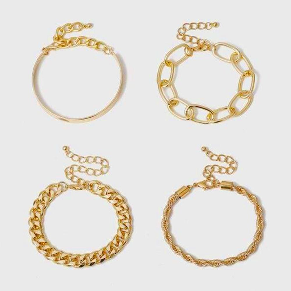 Vintage Bold Gold Chain Bracelet 4 Pieces Set