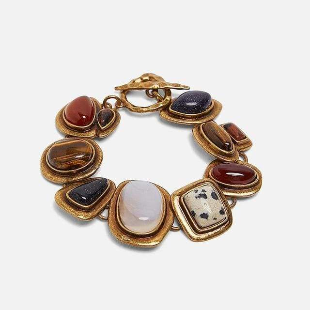 Secret Story Jewelry Bracelet Vintage Bold Gold Chain with Gemstone Bracelets