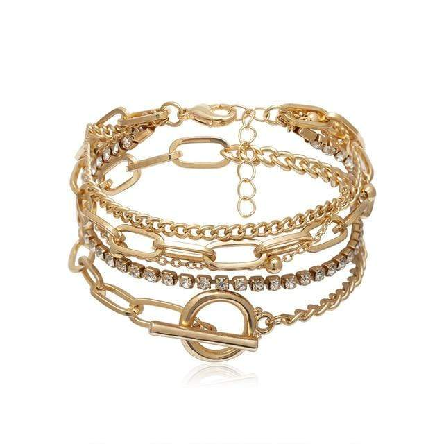 Secret Story Jewelry Bracelet Vintage Multi-layer Gold Chain Bracelets