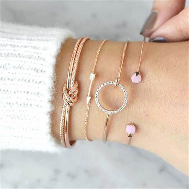 Secret Story Jewelry Bracelet XOXO Multilayer Bangle and Bracelet Set 4 Pieces Set