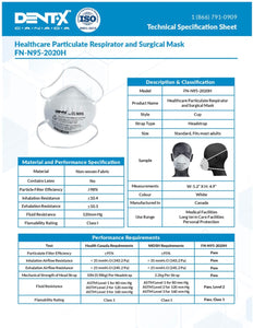 FN-N95-2020H Health Care Particulate Respirator[MADE IN CANADA] - CanMedic Technology Inc.