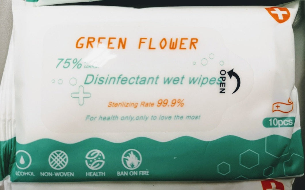 Green Flower 75% Disinfectant wet wipes (10 Wipes) 5 Packs - CanMedic Tech