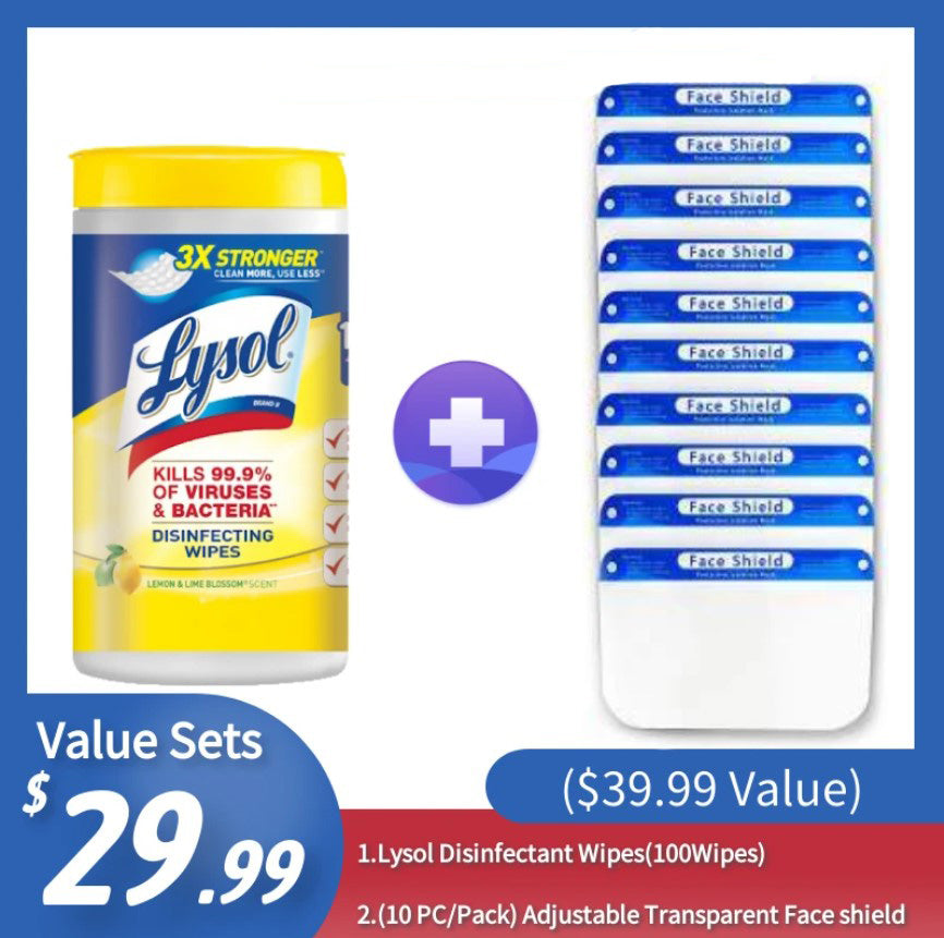 [Best Selling Set] Lysol Disinfectant Wipes(100Wipes)+ Face Shield (10 PCS) ($39.99 Value) - CanMedic Tech