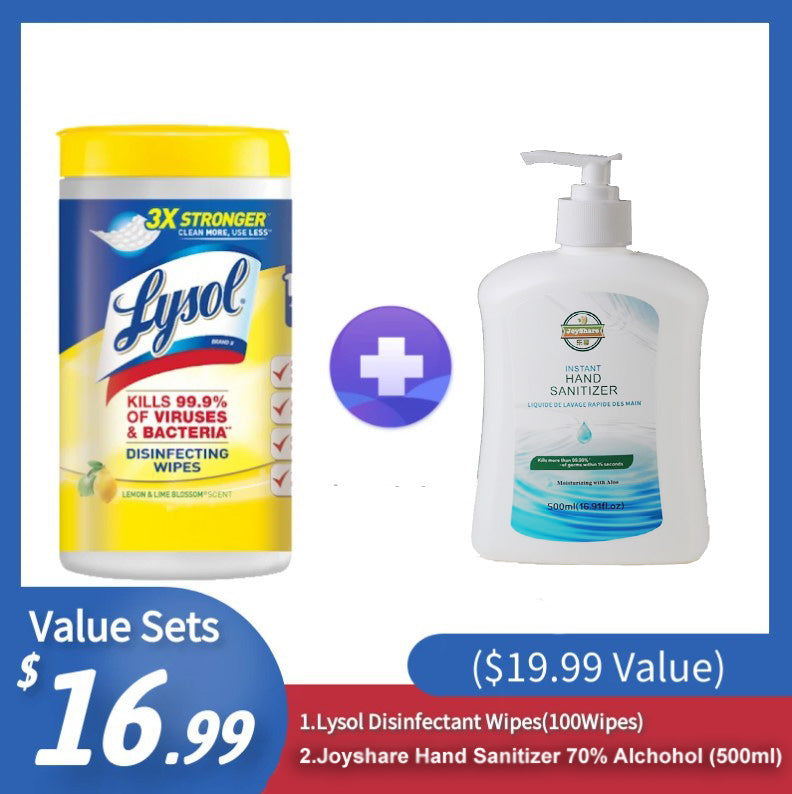 [Best Selling Set] Lysol Disinfectant Wipes(100Wipes)+ Joyshare Hand Sanitizer 70% Alcohol (500ml) ($19.99 Value) - CanMedic Tech