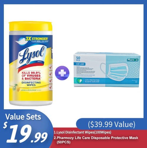 [Best Selling Set] Lysol Disinfectant Wipes(100Wipes)+ Pharmozy Life Care Disposable Protective Mask(50PCS) ($39.99 Value) - CanMedic Tech
