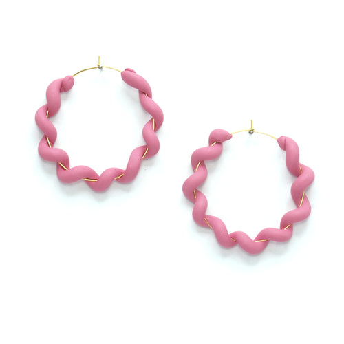 dusty Pink Wiggle Hoops - polymer clay wrapped around a gold hoop