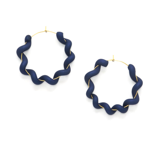 navy blue statement hoops - polymer clay is wrapped around gold hoops to create a wiggly hoop earring