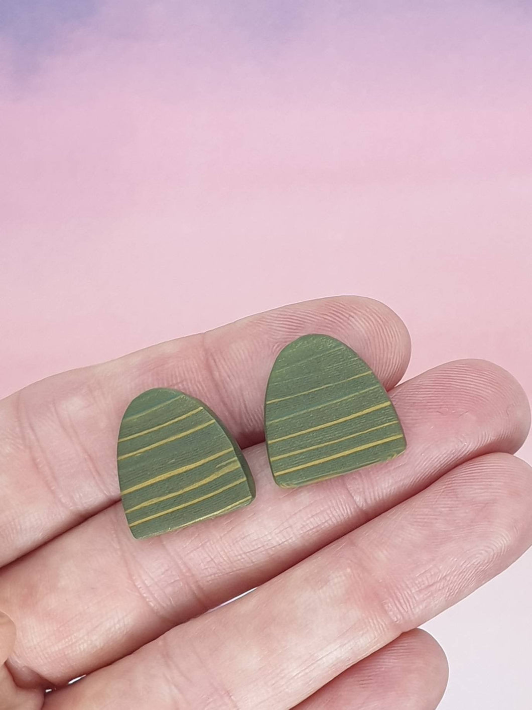 Oasis  Stripe - Half oval Studs - polymer clay earrings