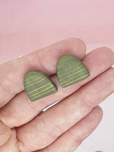 Load image into Gallery viewer, Oasis  Stripe - Half oval Studs - polymer clay earrings