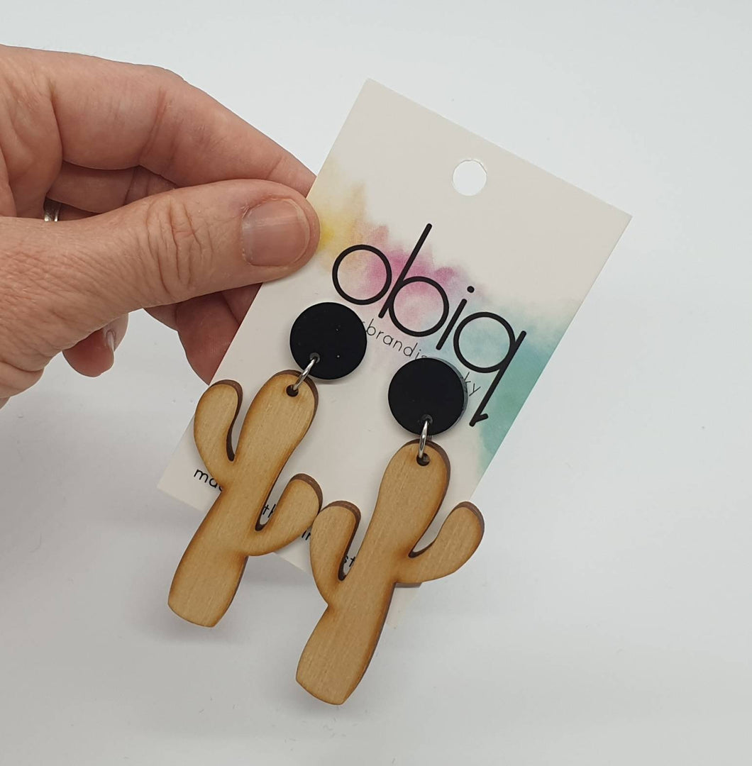 Laser Cut Wooden Cacti - Black Acrylic Stud Top - Statement drop earrings