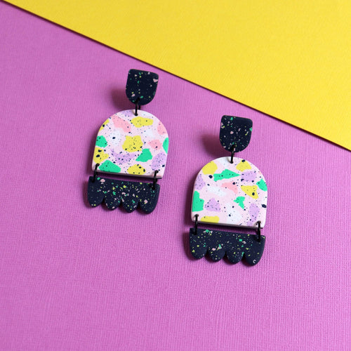 colourful dangly earrings with navy contrast components. Beautiful pattern made from polymer clay, very unique earrings
