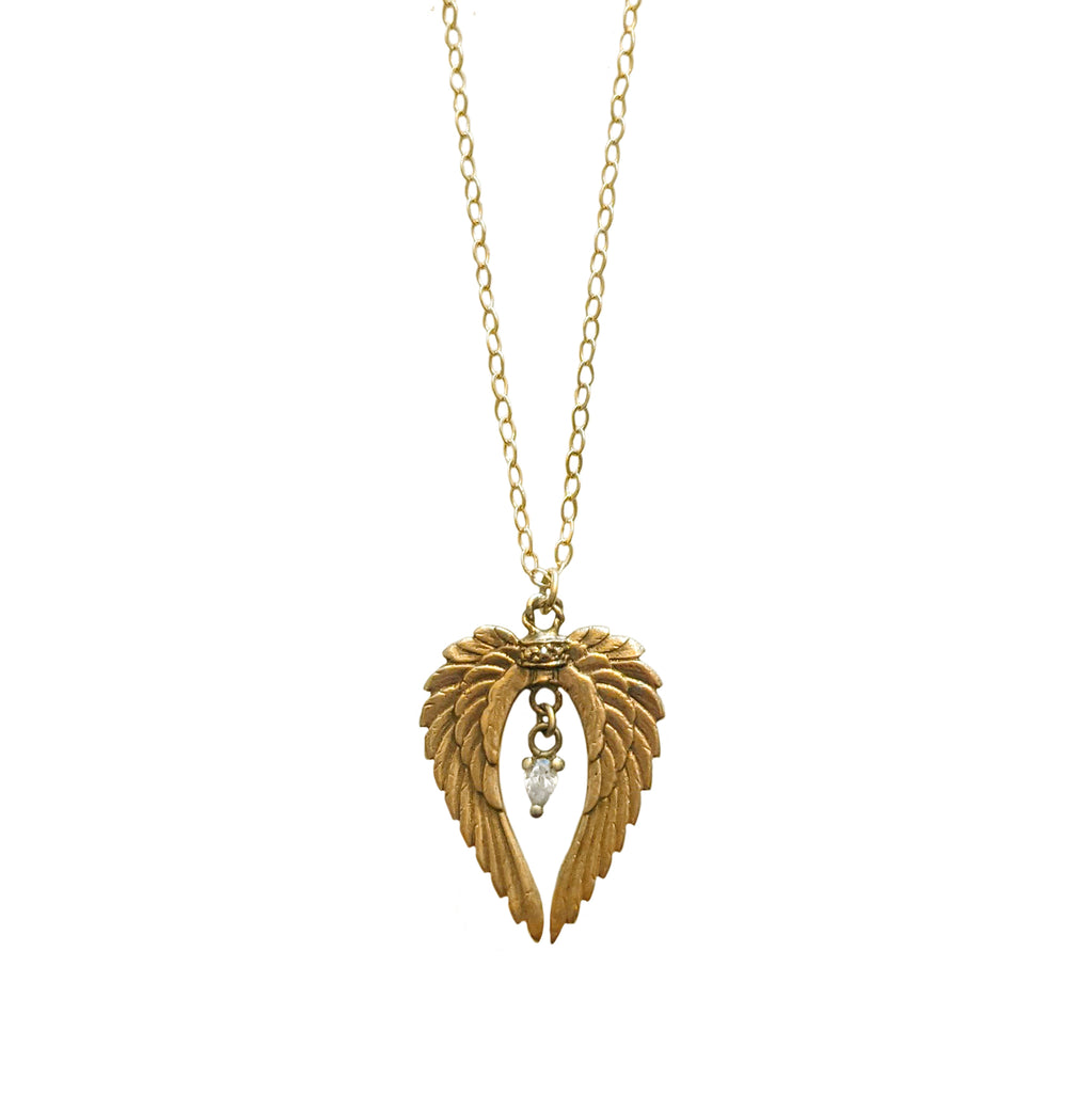 14k Angel Wings Necklace with Diamond