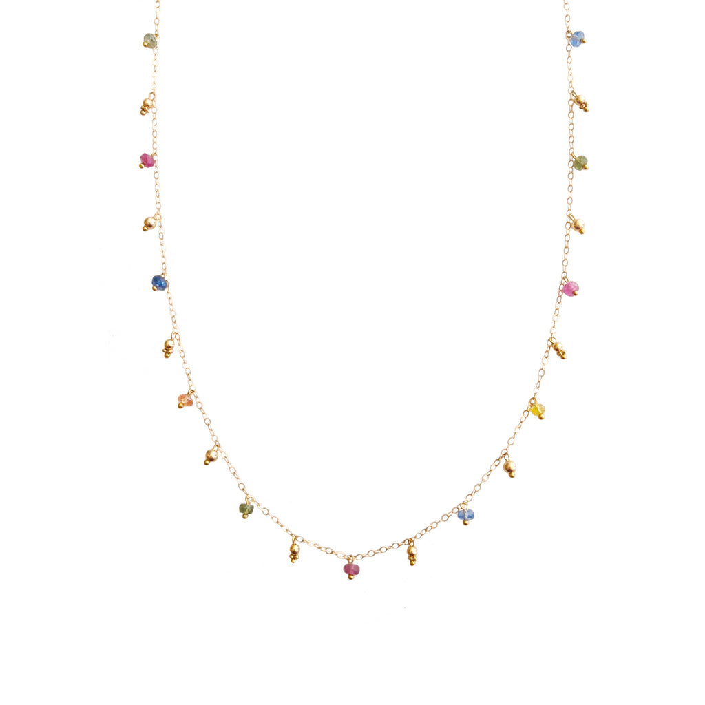 14k Simple Chain Necklace with Precious Gemstones