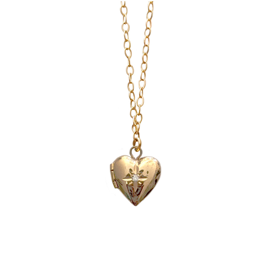 14k Tiny Heart Locket with Diamond