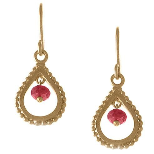 Small Gold Garnet Teardrop Earrings