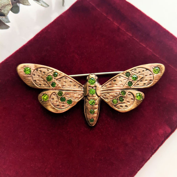 Victorian Bronze Moth Brooch with Paste Stones