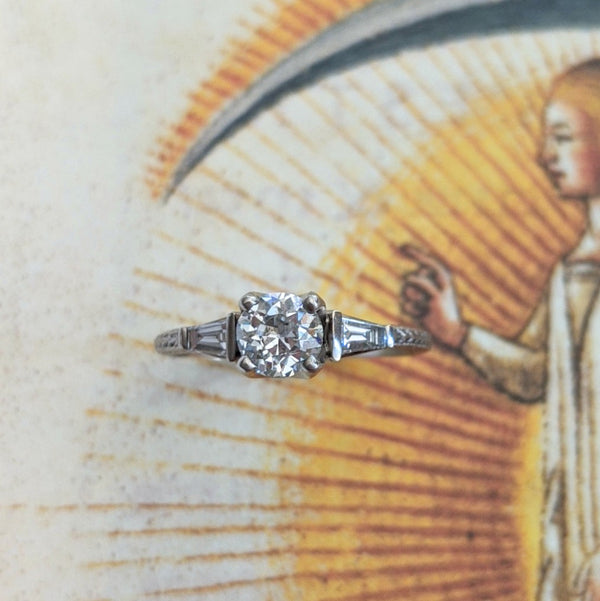 Baguette Trio Diamond Engagement Ring
