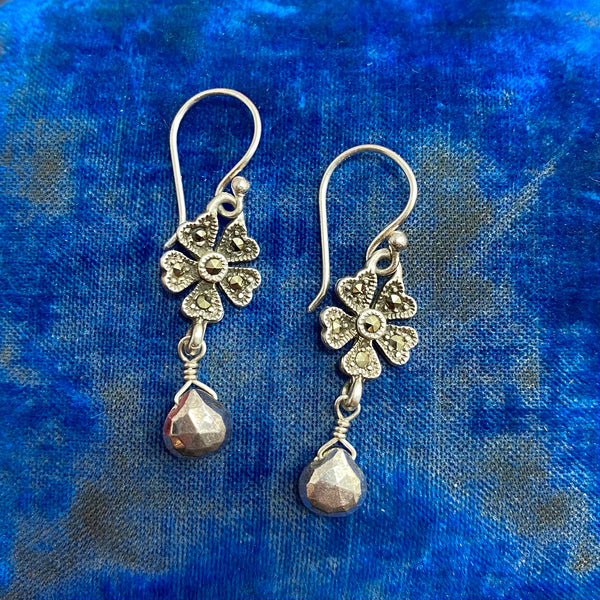 Art Deco Silver Marcasite Flower Earrings