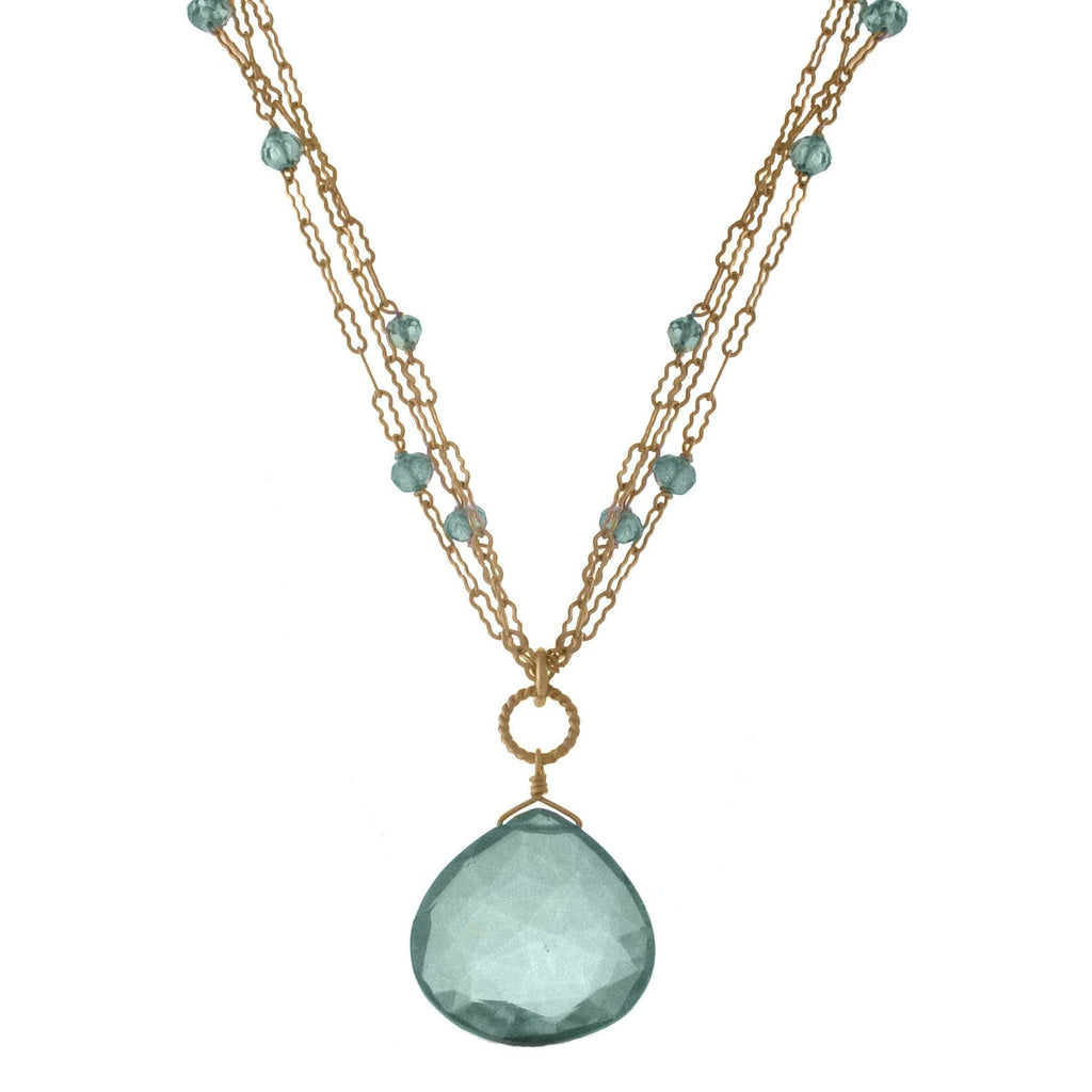 Large Gem Necklace on Accented Triple Chain