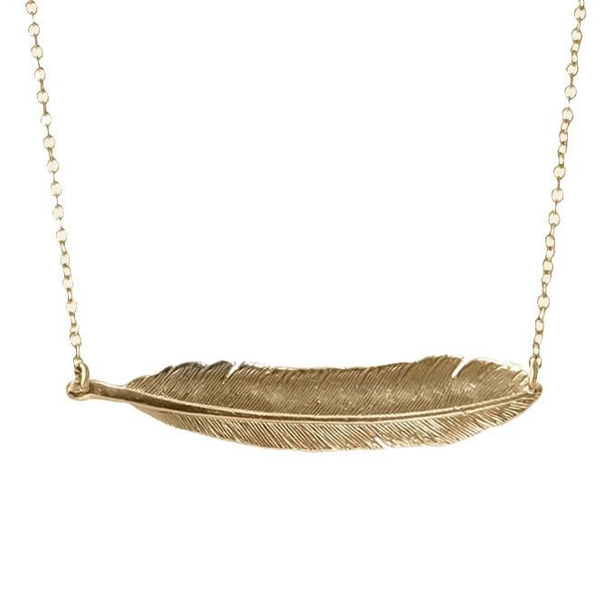 Single Feather Stationary Necklace