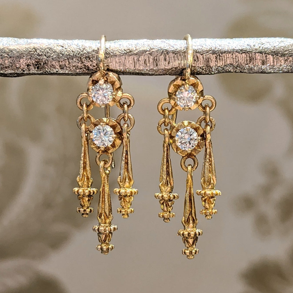 Victorian 14k Etruscan Revival Diamond Chandelier Earrings
