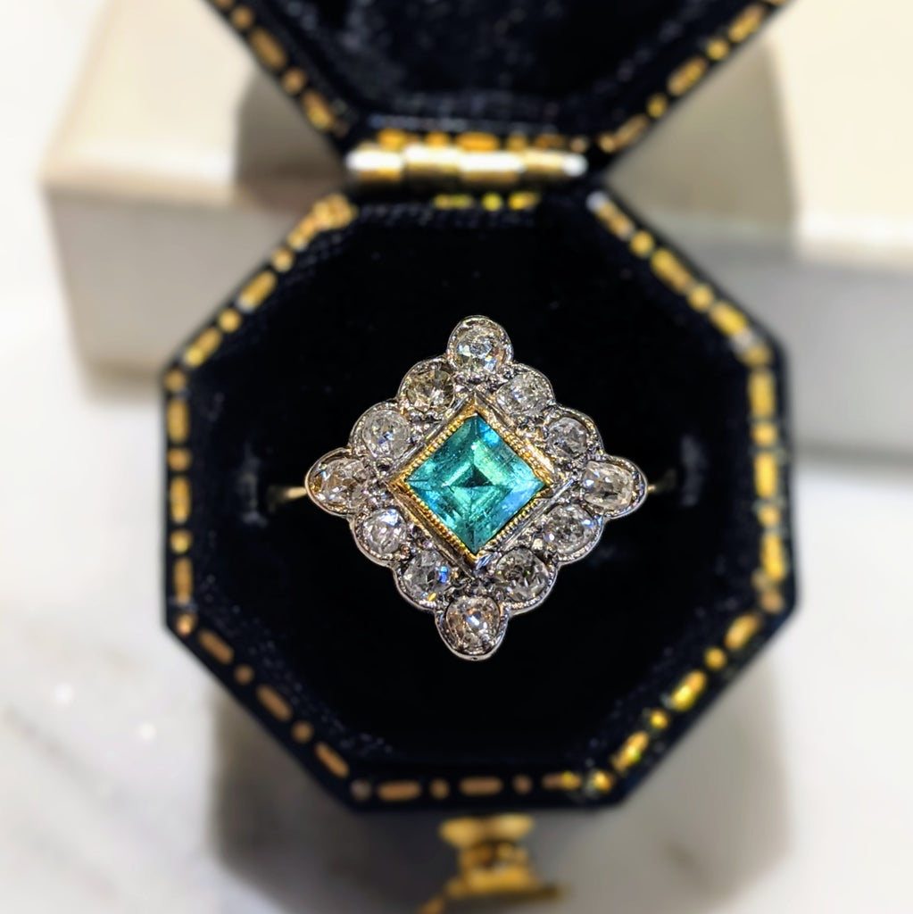 Edwardian 18k and Platinum Emerald and Diamond Ring
