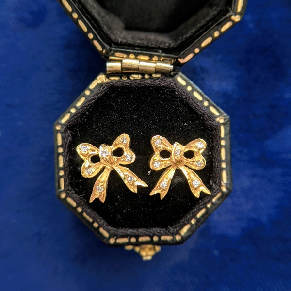 Edwardian 18k Diamond Bow Earrings