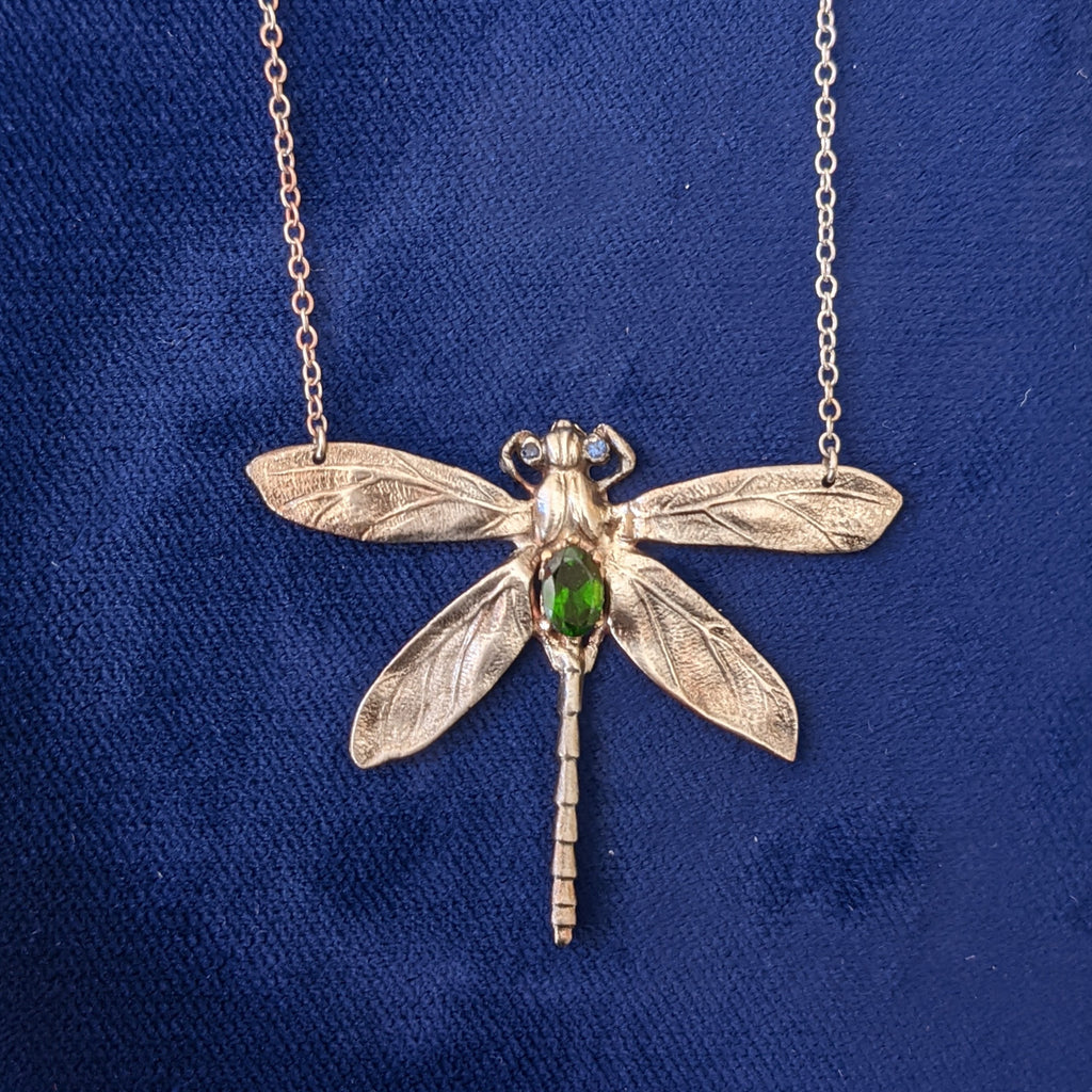 Art Nouveau Silver Dragonfly Necklace with Chrome Diopside