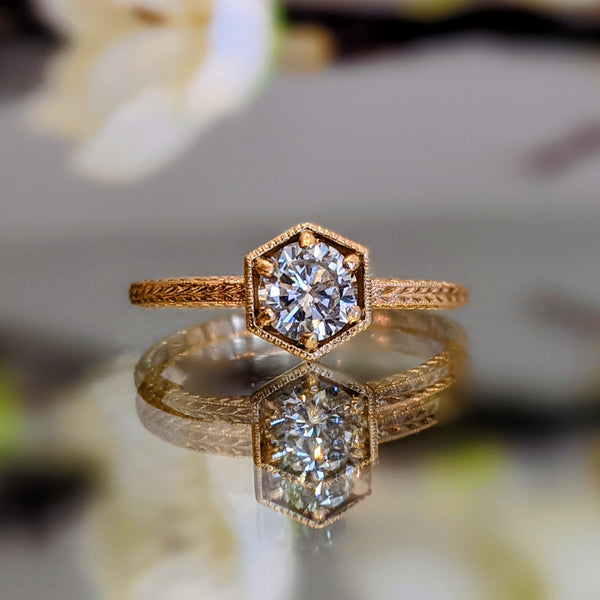 Hexagon Wheat Solitaire Engagement Ring
